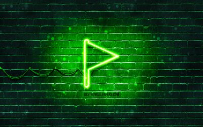 Green flag neon icon, 4k, Green background, neon symbols, Green flag, neon icons, Green flag sign, computer signs, Green flag icon, computer icons