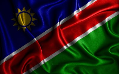 Namibian flag, 4k, silk wavy flags, African countries, national symbols, Flag of Namibia, fabric flags, Namibia flag, 3D art, Namibia, Africa, Namibia 3D flag