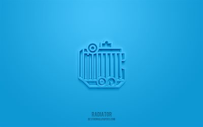 Radiator 3d icon, blue background, 3d symbols, Radiator, Car parts icons, 3d icons, Radiator sign, Car parts 3d icons