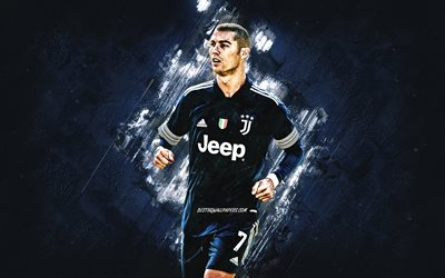 Cristiano Ronaldo, Juventus FC, blue stone background, world football star, blue Juventus uniforms, Serie A, Italy, football