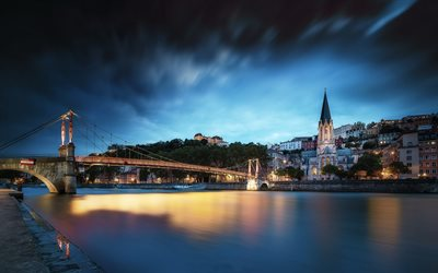 Church of St George, Lyon, Eglise Saint-Georges, Roman Catholic church, evening, sunset, landmark, Lyon cityscape, France