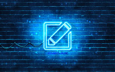 Edit neon icon, 4k, blue background, neon symbols, Edit, neon icons, Edit sign, computer signs, Edit icon, computer icons