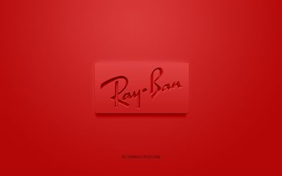 Ray-Ban logo, red background, Ray-Ban 3d logo, 3d art, Ray-Ban, brands logo, red 3d Ray-Ban logo