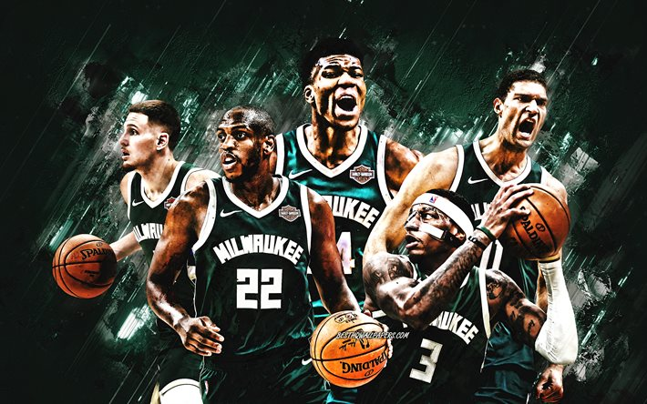 Milwaukee Bucks, NBA, American Basketball Club, green stone background, basketball, USA, Torrey Craig, Khris Middleton, Brook Lopez, Giannis Antetokounmpo