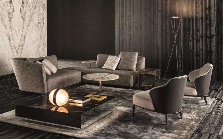 Scarica sfondi moderno, elegante, interno, grigio, interior design ...