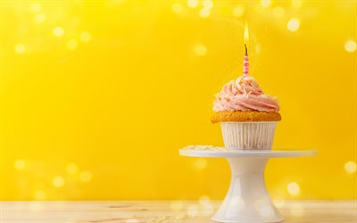 Happy Birthday, cupcake, cake, burning candle, 1 year concepts, sweets, cake on a yellow background