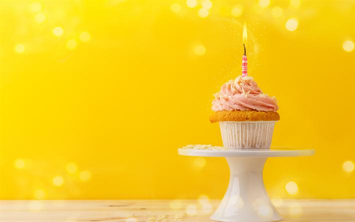 Download Wallpapers Happy Birthday Cupcake Cake Burning