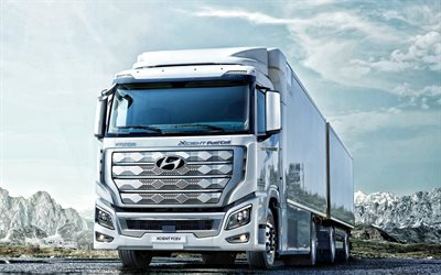 Hyundai Xcient Fuel Cell, 2021, front view, exterior, modern trucks, Hyundai trucks, Korean trucks, Hyundai