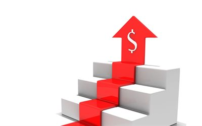 dollar growth, 3d red arrow, business, 3d white steps, 3d white stairs, 3d red graph, business 3d background, american dollars, dollar rate, growth concepts
