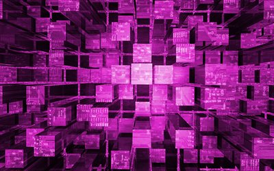 purple 3d cubes background, creative purple 3d cubes, digital 3d purple background, 3d columns background, purple cubes background, 3d cubes