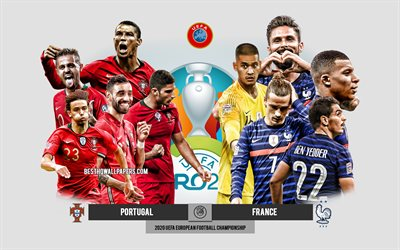 Portugal vs France, UEFA Euro 2020, Preview, promotional materials, football players, Euro 2020, football match, Portugal national football team, France national football team, Cristiano Ronaldo
