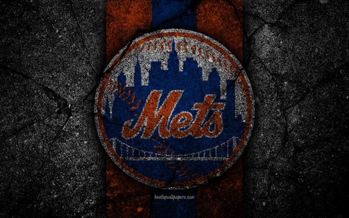 download wallpapers 4k new york mets logo mlb baseball usa