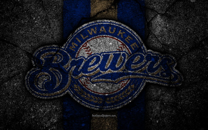 Download wallpapers 4k milwaukee brewers logo mlb - Milwaukee brewers wallpaper ...