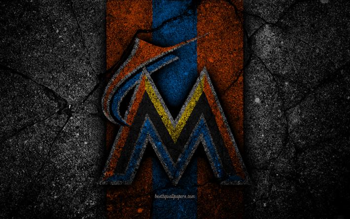 4k Miami Marlins Logo MLB Baseball USA Black Stone
