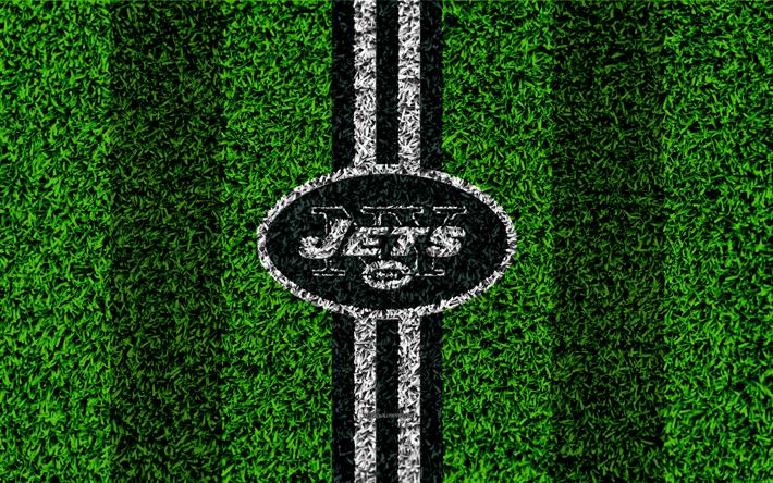 download wallpapers new york jets logo 4k grass texture emblem
