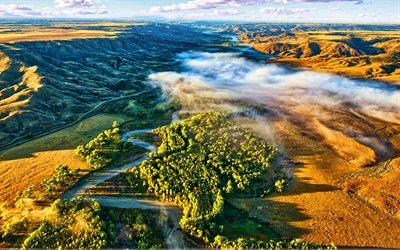 Judith River, aerial view, Missouri River tributaries, beautiful nature, USA, America, mountains