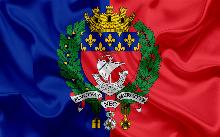 Download wallpapers Flag of Paris, 4k, silk texture, coat of arms ...