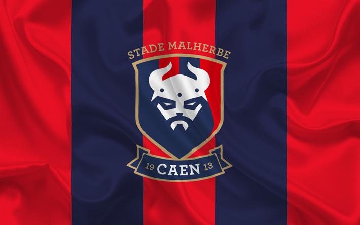 Download Wallpapers Caen Fc, Emblem, Caen Logo, Football Club, Ligue 1, France, Football For
