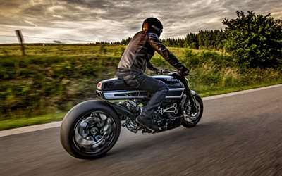 Ducati XDiavel Thiverval, 2017 cars, HDR, rider, Ducati