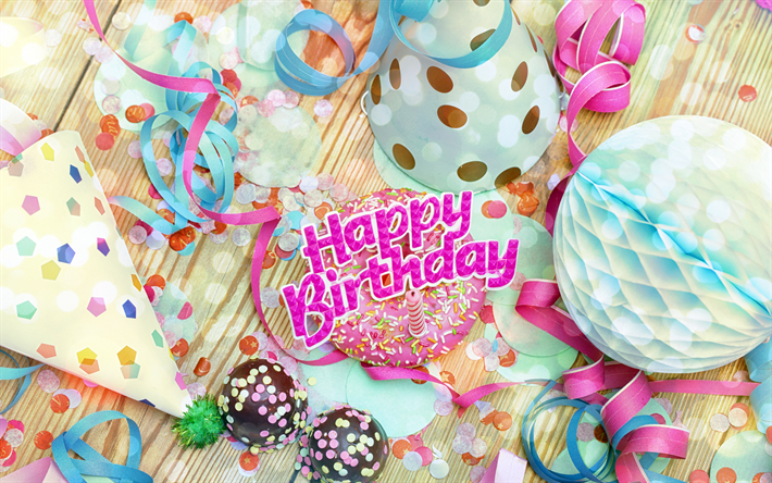 Download Wallpapers Happy Birthday Decorating 4k