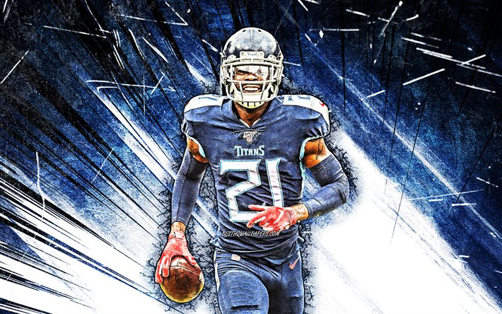 4k, Malcolm Butler, grunge art, Tennessee Titans, american football, NFL, Malcolm Terel Butler, cornerback, National Football League, blue abstract rays, Malcolm Butler Tennessee Titans, Malcolm Butler 4K