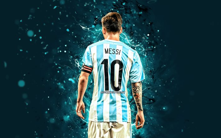 Lionel Messi, 2020 back view, Argentina national football team, 4k, football stars, blue neon lights, Leo Messi, soccer, Messi, footballers, Argentine National Team, Lionel Messi 4K
