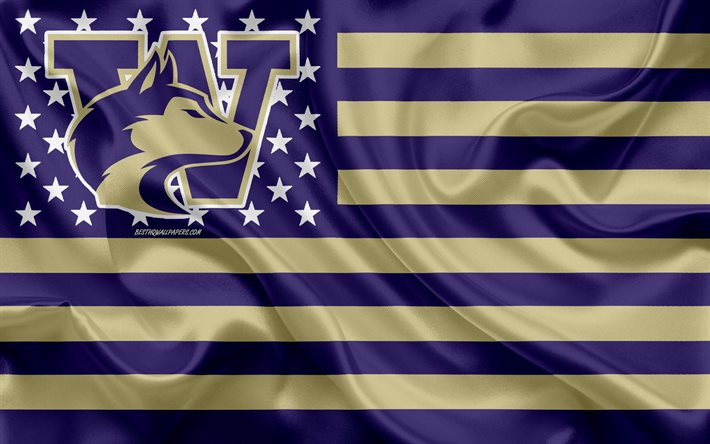 Washington Huskies, American football team, creative American flag, purple gold flag, NCAA, Seattle, Washington, USA, Washington Huskies logo, emblem, silk flag, American football