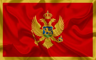 Flag of Montenegro, Europe, red flag, coat of arms, Montenegro