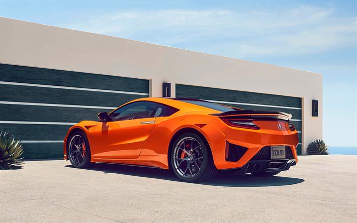 download wallpapers acura nsx  2019  4k  rear view  orange supercar  new orange nsx  japanese