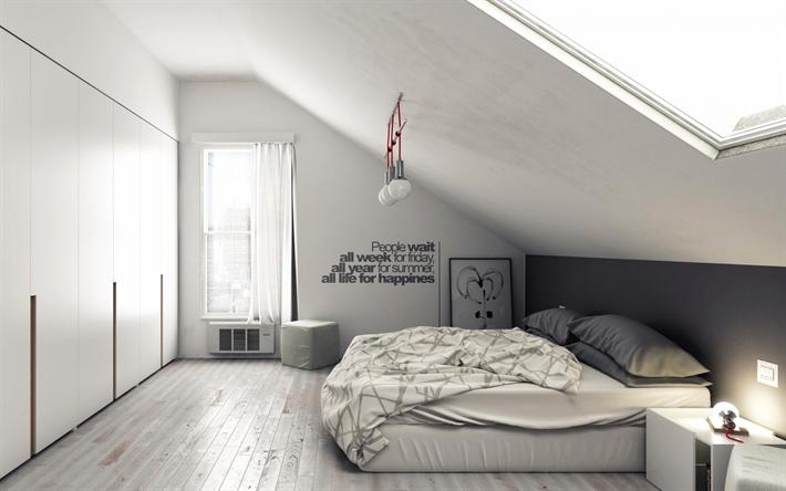 Camere Da Letto Design Minimalista : Scarica sfondi elegante camera da letto grigio interni dal design