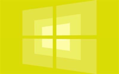 4k, Windows 10 logo amarillo, mínimo, OS, fondo amarillo, creativo, marcas, Windows 10 logotipo, imágenes, Windows 10