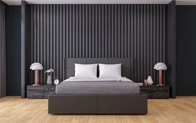 stylish interior, bedroom, gray in the bedroom, loft style, black walls in the bedroom, modern interior design, modern style, bedroom project