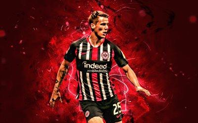 erik durm, 2019, eintracht frankfurt fc, german footballers, soccer, durm, bundesliga, black uniform, football, neon lights, germany