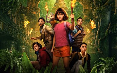Dora and the Lost City of Gold, 2019, 4k, poster, promotional materials, all characters, main characters, Isabela Moner, Madeleine Madden