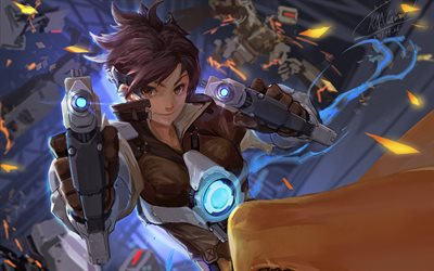 Tracer with guns, 4k, 3D art, Overwatch characters, warriors, 2019 games, Tracer, shooter, Overwatch, Tracer Overwatch