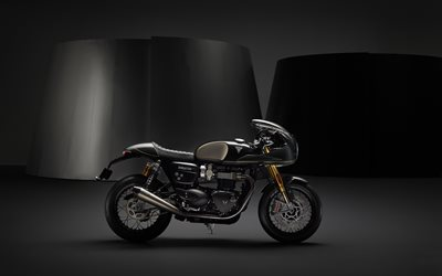 Triumph Thruxton, 2019, exterior, side view, new black Thruxton, Cafe Racer, British motorcycles, Triumph