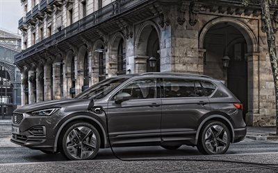 2020, Seat Tarraco, FR PHEV, exterior, side view, electric crossover, new gray Tarraco, electric vehicle charging, Spanish cars, Seat