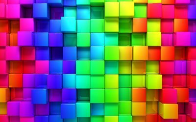 multicolored cubes, 3D cubes, 3D colored abstraction