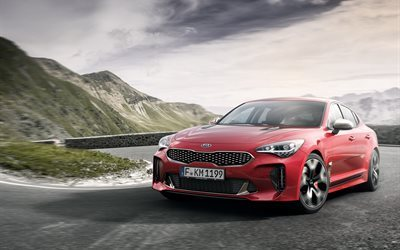 Kia Stinger GT, 2018 cars, movoment, supercars, red kia