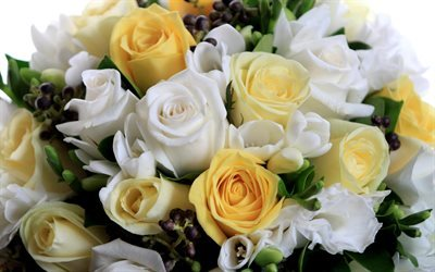wedding bouquet, roses, white roses, yellow roses
