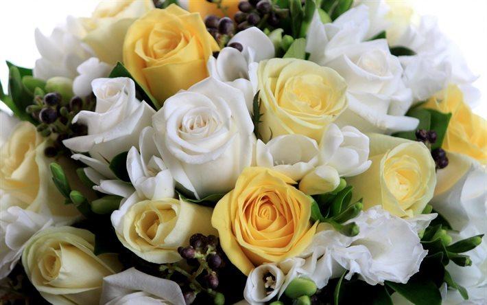 herunterladen hintergrundbild hochzeit blumenstrau rosen wei e rosen gelbe rosen f r desktop. Black Bedroom Furniture Sets. Home Design Ideas