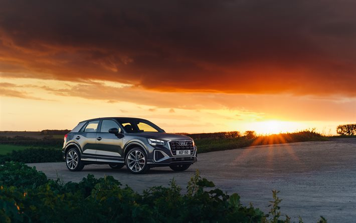 Audi Q2, 4k, sunset, 2020 cars, UK-spec, crossovers, 2020 Audi Q2, german cars, Audi