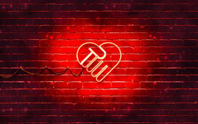 Friendship neon icon, 4k, red background, friendship concepts, neon symbols, Friendship, creative, neon icons, Friendship sign, people signs, Friendship icon, people icons