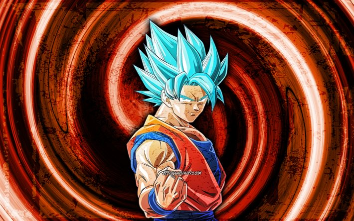 4k, Vegetto, orange grunge background, Dragon Ball, vortex, Dragon Ball Super, DBS, Vegetto DBS, DBS characters