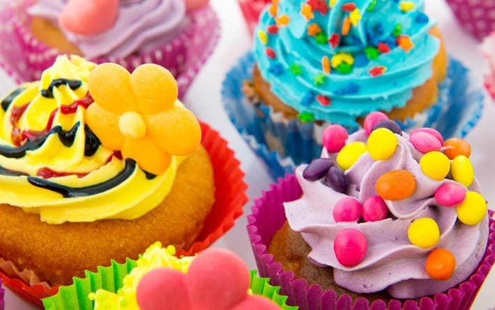 muffins, sweets, baked goods, muffins with colorful cream, purple cream, yellow cream