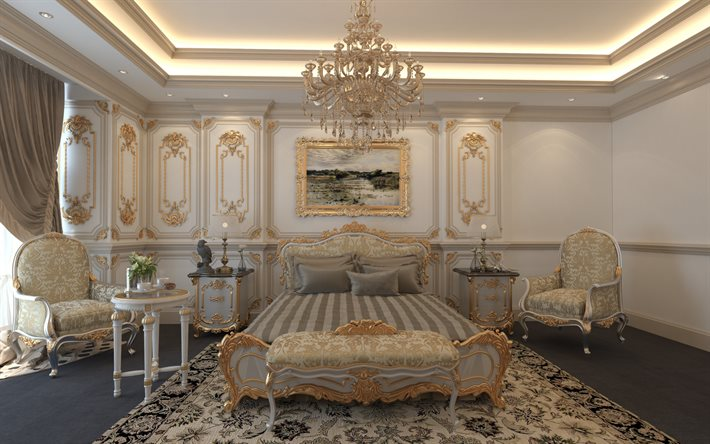 classic bedroom style, stylish interior design, bedroom, gold ornaments on the walls, classic chandelier, classic style bedroom project, luxury bedroom interior