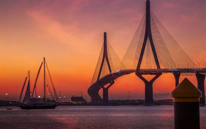 La Constitucion de 1812 Bridge, La Pepa Bridge, Cadiz, evening, sunset, suspension bridge, Bay of Cadiz, Puerto Real, Spain