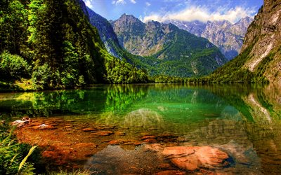 Lake Konigssee, summer, mountains, beautiful nature, Bavaria, Germany, Europe, HDR, Berchtesgadener Land