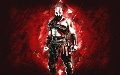 Fortnite Kratos Skin, Fortnite, personagens principais, fundo de pedra vermelha, Kratos, Fortnite skins, Kratos Skin, Kratos Fortnite, personagens Fortnite