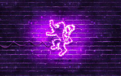 House Lannister emblem, 4k, violet brickwall, Game Of Thrones, artwork, Game of Thrones Houses, House Lannister logo, House Lannister, neon icons, House Lannister sign